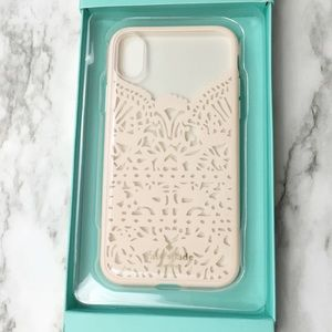 NWT Kate Spade iPhone X Case - Cream/Pink Lace